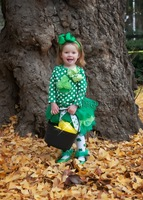 St Patricks Day - Dark Green Lime Petal Skirt Tutu with Polka Dots Cupcake Long Sleeves Top & Headband Bow
