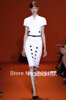Free shipping 2013 new winter fashion bag hip tight-fitting short-sleeved button- slit dress KC281