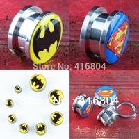 1Lot (2Pc) Batman Superman Logo Stainless Steel Flesh Tunnel Ear Plug Screw Body Piercing Jewelry Ear Expander