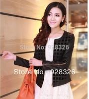 Drop Shipping Free Shipping 2014 Novelty Women Autumn Motorcycle plaid Short PU Leather Jacket,Slim Zipper Big Size M-4XL