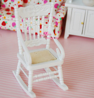 1/12 Scale  Dollhouse Miniature  Furniture White Rocking Chair Living Dinning Reading Room Chair