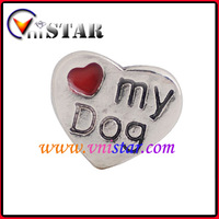 Hot Sale! Vnistar Heart Floating Charm With Love my Dog Stamped In Single Sided Design 60pcs/Lot Free Shipping, AC212