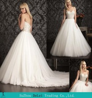Romantic Fashion New Custom Made Sweetheart Bridal Gowns Beaded Tulle Off The Shoulder Sleeveless A-Line Wedding Dresses 2014