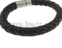 Free shipping!!!Leather Cord Bracelet,2013 new european and american style, brass bayonet clasp, black, nickel