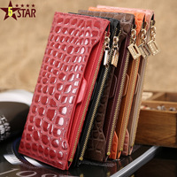 2013 NEW fashion genuine leather long wallets women wallet ladies' purse bag handbag card holder 5 colors W31