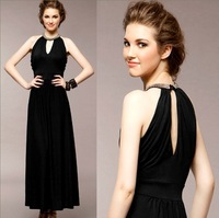 2013 halter-neck long design one-piece dress fashion summer sexy cutout slim formal dress dinner full dress women's