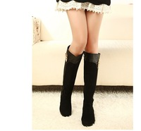 High quality new arrival brand fashion women knee-high boots,flat button all-match lady's long boots,hot female martin boots