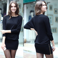 Autumn loose plus size female autumn and winter long-sleeve basic slim hip skirt ol one-piece dress