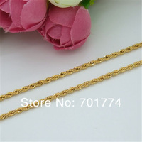 Unisex 24K Yellow Gold Plated Polish Thin Twist Rope Chain Necklace for Pendants All Sizes Christmas Gift Jewelry Mens Womens