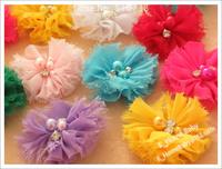 120pcs 2inch Baby Chiffon Flower Garment flower for children Hair aceessories baby flower chiffon lace flower