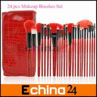 65Packs/lot Professional 24Pcs Makeup Brushes Set Makeup Brush Tools Brand Make Up Brush Set With Red Leather Case Free Shipping