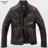 2013 sheepskin short slim design genuine leather male leather clothing motorcycle clothing leather jacket 957
