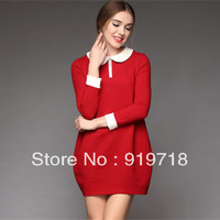 S-XXXXXL!2013 women's plus size loose color block dress women collar 100% cotton long-sleeve autumn and winter one-piece dress