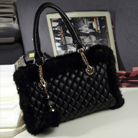Fashion bags 2013 women's handbag autumn and winter rabbit fur bag dimond plaid messenger bag