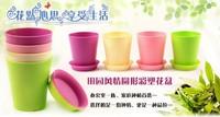 Free Shipping Mini Candy Color Plastic Flowerpots Plant Pot Flower Vase  Planter 10 Pieces/Lot