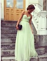 Simple Design Custom Made Off The Shoulder Sleeveless Pleat Chiffon Long Formal Evening Prom Dresses 2014