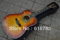Free shipping HOT wholesale new style  Sunset D-45S Cream-colored Acoustic Guitar with Fisherman pick-up NO case