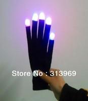 LED shinning magic gloves LED Gloves Light Finger Lighting Glow Flashing Gloves  100PCS(50pair)