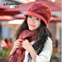 Free shipping Quinquagenarian women's hat wool hat scarf twinset Women autumn and winter female winter knitted hat