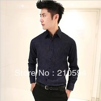 New men's fashion leisure slim cowboy long-sleeved shirt 2 color 466