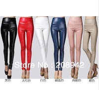 Winter autumn women plus size thicker faux PU leather leggings high waist skinny pants free shipping