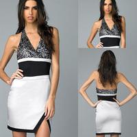 Black Sequins And Silver Satin Short Halter 2014 Stunning Deep V-neck Cocktail Dress