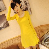 2013 autumn and winter sanded expansion bottom basic medium-long one-piece dress solid color high waist casual all-match basic