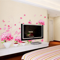 Romantic flower flat wall stickers romantic wall stickers decoration wall stickers  Free shipping