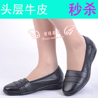 Spring and autumn comfortable genuine leather anti-slip soles flat round toe first layer of cowhide women's shoes casual shoes