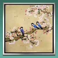 Chinese style modern oil painting handmade bird oil painting with flower for home decoration free shipping