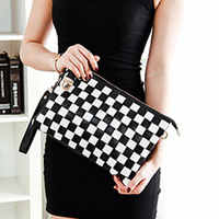 Female plaid day clutch bag for women quality envelope candy messenger bag sewing thread