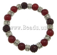 Free shipping!!!Dyed Marble Bracelet,Famous, with rhinestone pave bead & Elastic Thread & Brass, platinum color plated, 10mm
