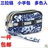 Cartoon women's zipper day clutch wrist length with handle multifunctional nylon small cotton prints bag