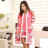 Autumn and winter female robe nightgown coral fleece thickening female sleepwear robe twinset mink velvet