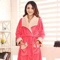 Coral fleece robe autumn and winter flannel lounge bathrobe thickening sleepwear women's bathrobes