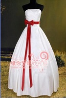 Suzhou Huqiu Special Price Custoomizable Tube Top White Thick Satin Red Bow Belt Slim Ball Gown Bridesmaid Dress