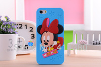 3D Cute Cartoon Animal Minnie Winnie Mickey Silicone Soft Case Cover For iPhone 4/4S 10pcs/lot