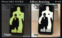 For iPhone 4 4S 5 5S Man women Love IRON MAN superman Luminous shine in dark Cover Cases Skins waterproof D_68