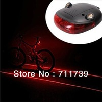 Waterproof Bicycle Laser Tail Light 2 Lasers + 5 LEDs Bike Safety Red Rear Warning Light Cycling Safety Caution Lamp
