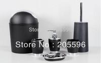 Black 7pcs Bathroom set  hand sanitizer bottle + toothbrush cup + 2 Cups +soapbox + toilet brush + toilet trash