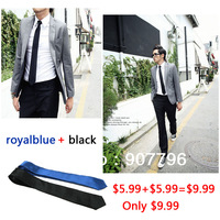New Adult Male black narrow tie small tie tie for working man fashion design royalblue + black Promotion