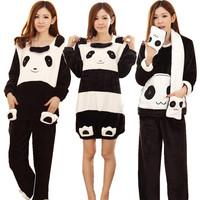 Female long-sleeve sleepwear autumn and winter flannel nightgown coral fleece robe cartoon panda thickening sleepwear