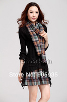 Fast Delivery! Grace Karin novelty Women Long Sleeve Crew Neck Knitting Dress + Scarf, Plaid CL4959