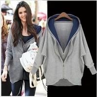 Free Shipping Hot Sale Autumn&Winter Fashion Ladies Loose Double Zipper Irregular With A Hood Sweatshirt Big Outerwear LBR6220