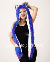39 Faux Fur Fashion Blue ink Winter Hat Nenon Hood Hat Warm Animal Beanie Cap Hoodie Scarf and Glove Together Free shipping