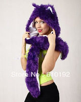Ladies2013 New Designer Faux Fur Purple FOX Fashion Winter Wolf Hat Warm  Animal Beanie Cap  Ear Hoodie Scarf and Glove Together