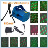 150mW Mini Red & Green DJ Disco Laser Stage Auto Strobe Light Projector Moving Party Lighting AC 100-240V With Tripod