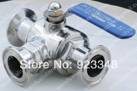 "1 1/2"" Stainless Steel Sanitary Clamp 304 Three-Way ball valve ""L"" Port"