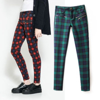 women's fashion british style plaid basic slim skinny pants trousers  Free Shipping