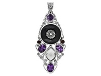 Black Onyx, Amethyst, Garnet & White Quartz  Antique silver effect Pendant  Free Shipping